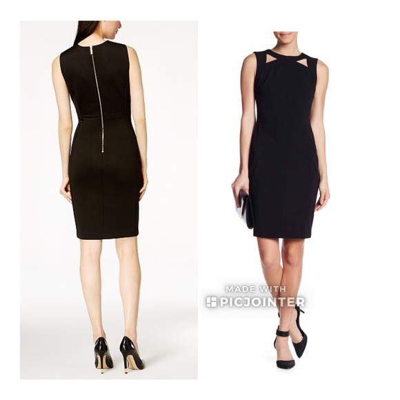 5f806a194e Calvin Klein Dresses | Scuba Crepe Cutout Sheath Dress 2 | Poshmark